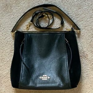 Leather and suede Coach purse